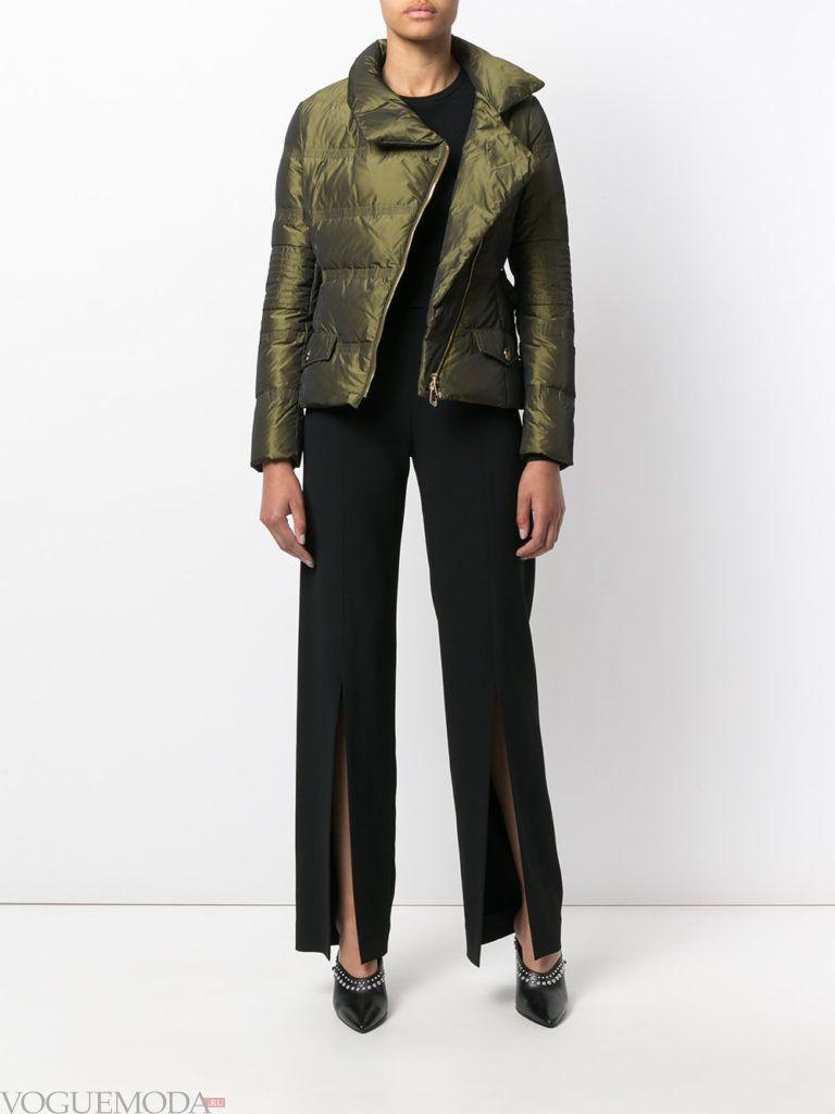 асимметричная зеленая куртка на синтепоне