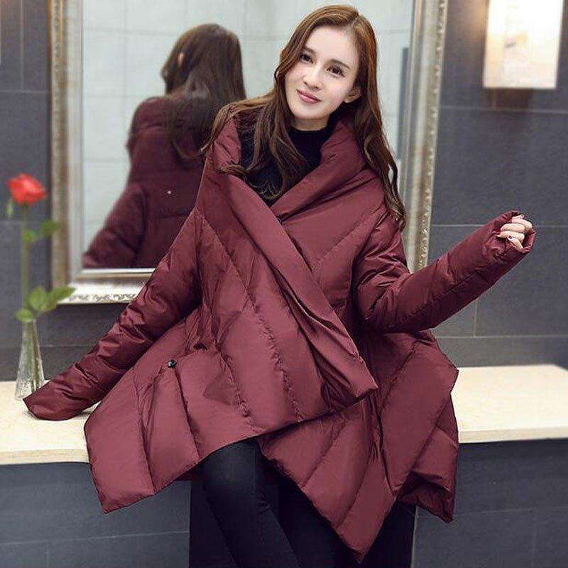 асимметричная бордовая куртка на синтепоне