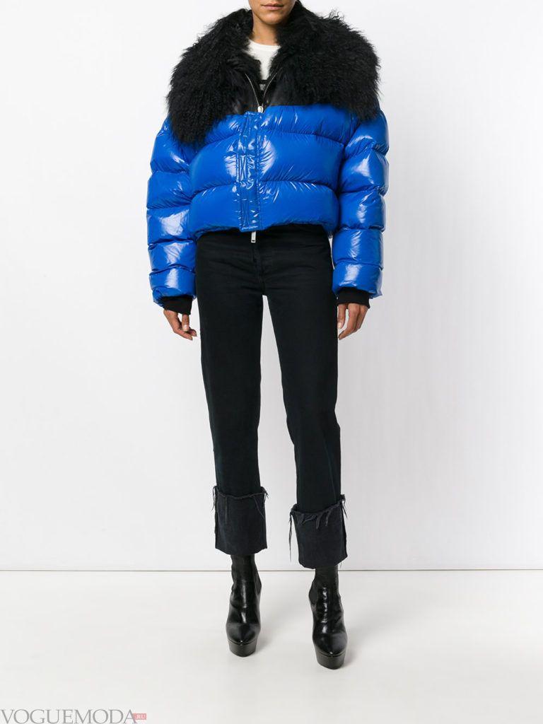 каждодневная синяя куртка на синтепоне