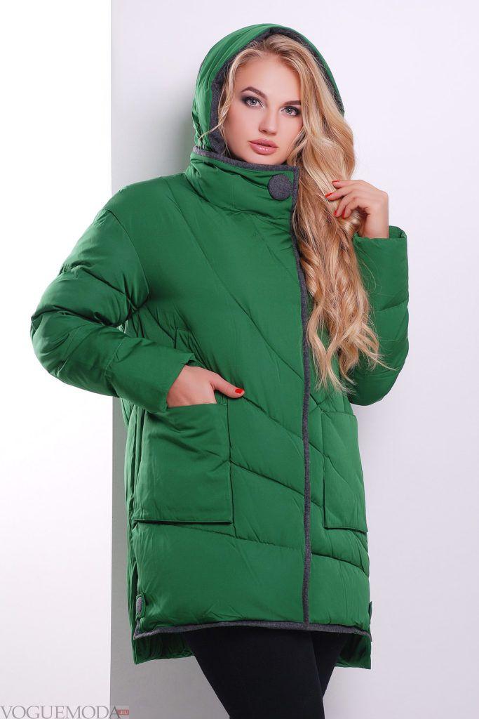 каждодневная зеленая куртка на синтепоне