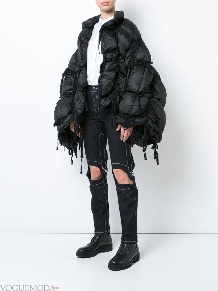 асимметричная черная куртка на синтепоне