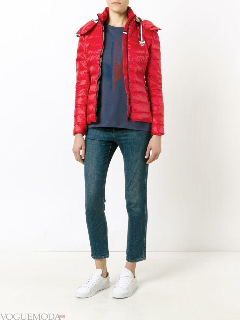 каждодневная красная куртка на синтепоне