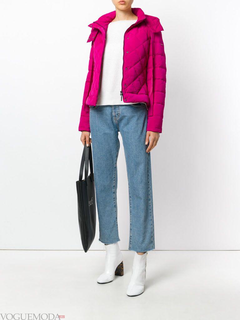 яркая куртка на синтепоне с фигурной стежкой