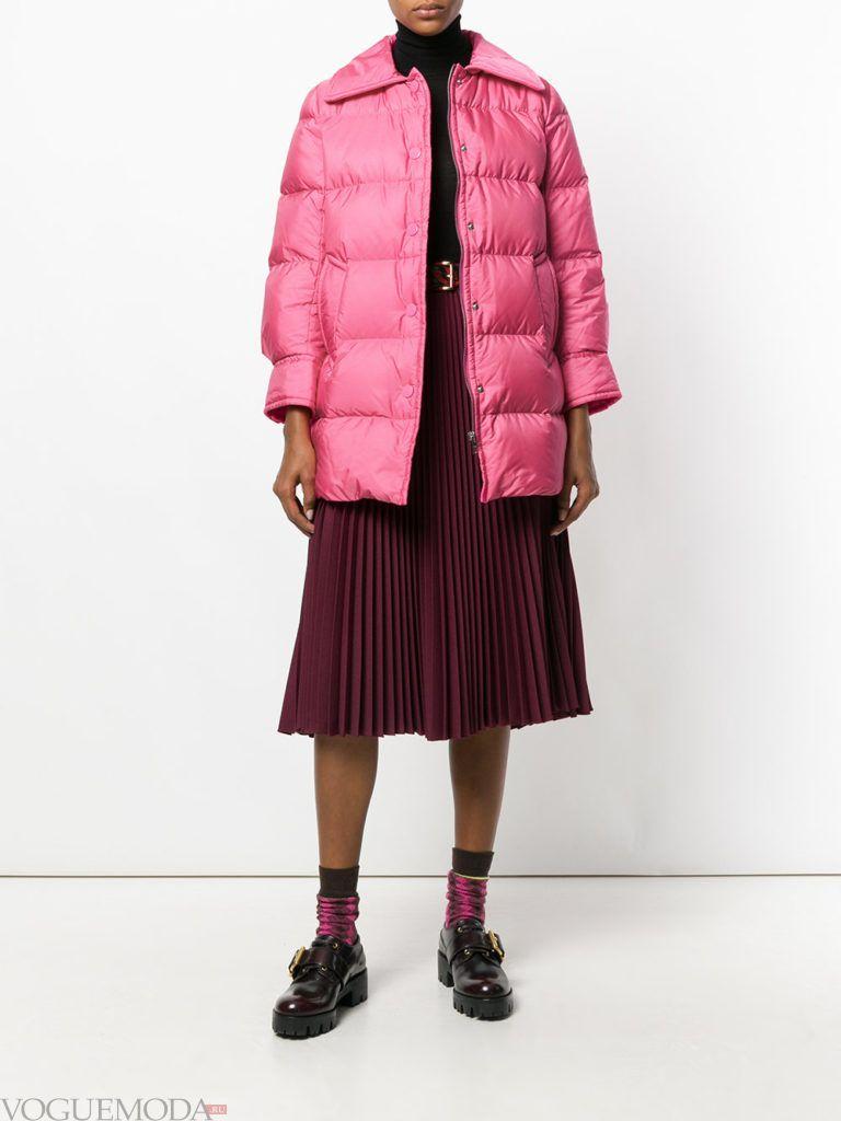куртка на синтепоне с воротником розовая
