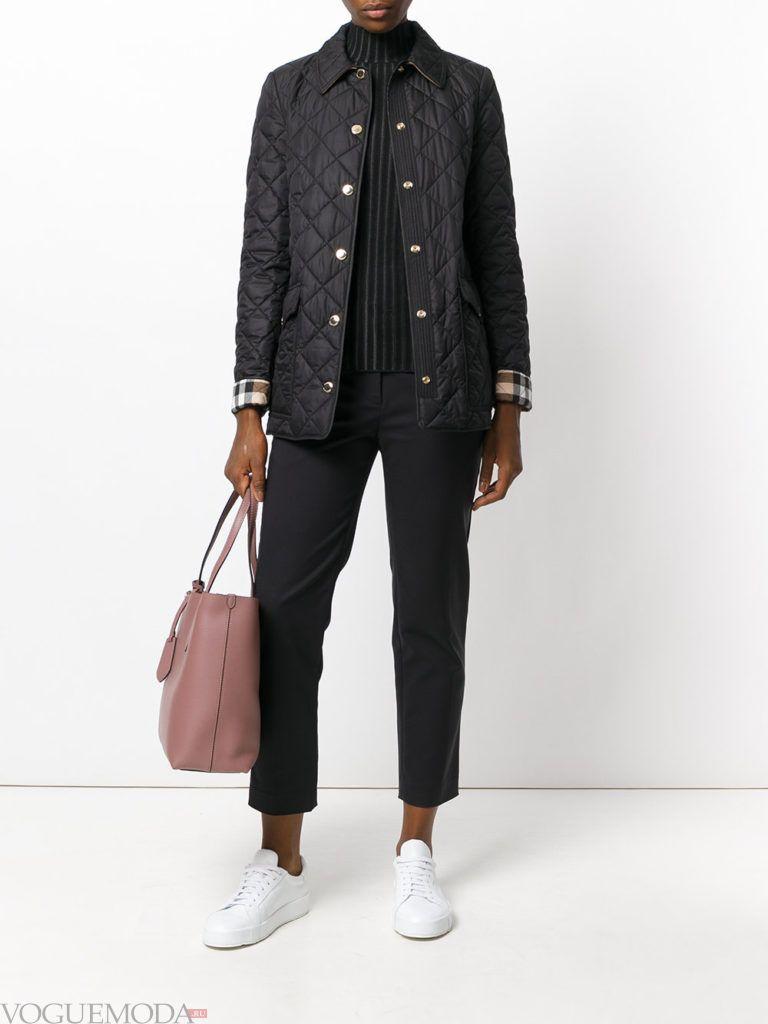 куртка на синтепоне с воротником черная