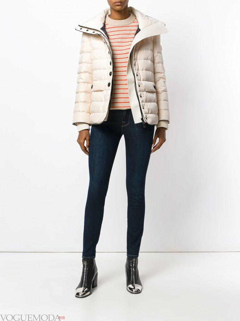 куртка на синтепоне с воротником светлая