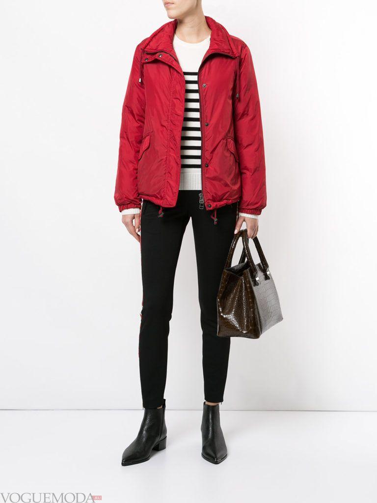 куртка на синтепоне с воротником красная