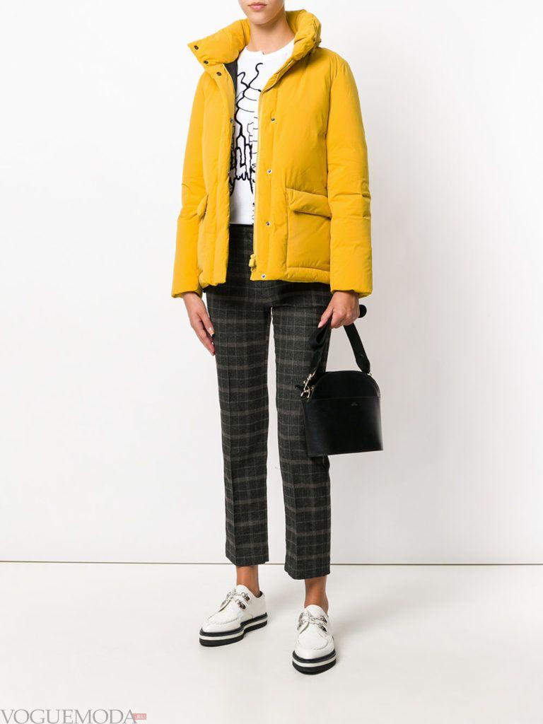 куртка на синтепоне с воротником желтая