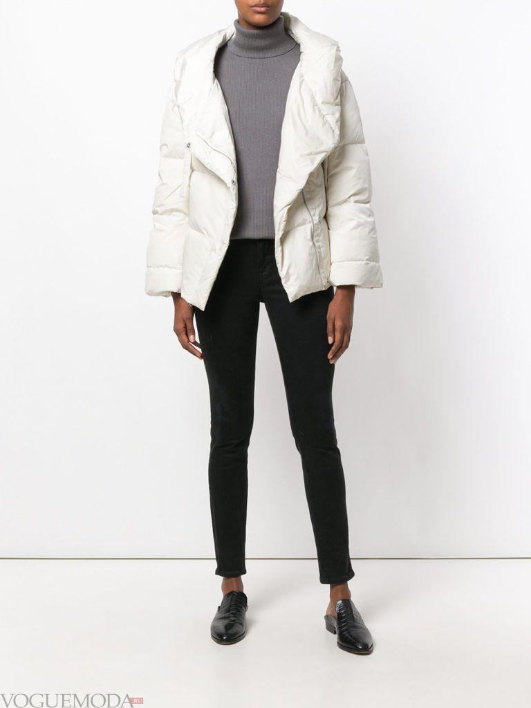 куртка на синтепоне с воротником белая