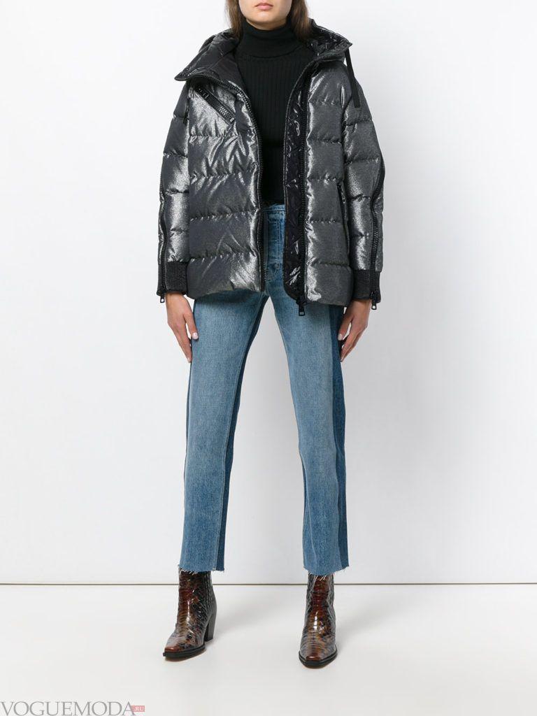 куртка на синтепоне с воротником блестящая