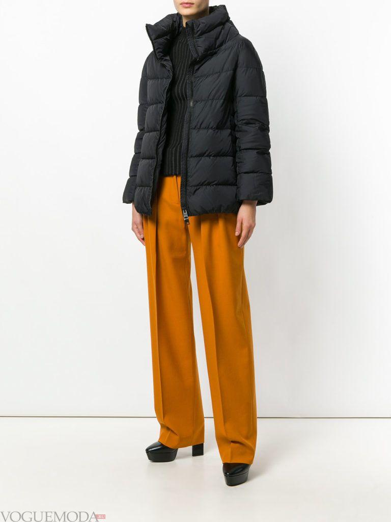 куртка на синтепоне с воротником темная