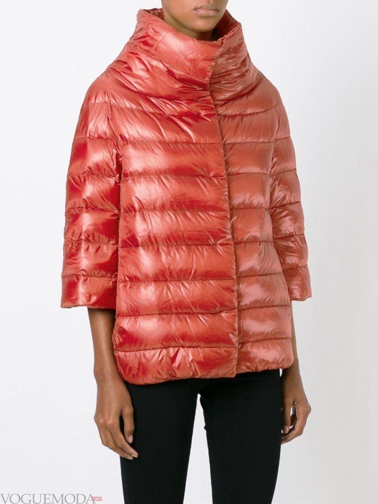 куртка на синтепоне с воротником алая