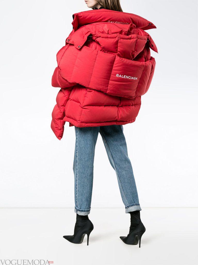 многослойная красная куртка на синтепоне