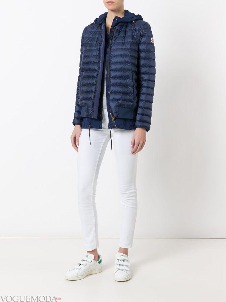 многослойная синяя куртка на синтепоне