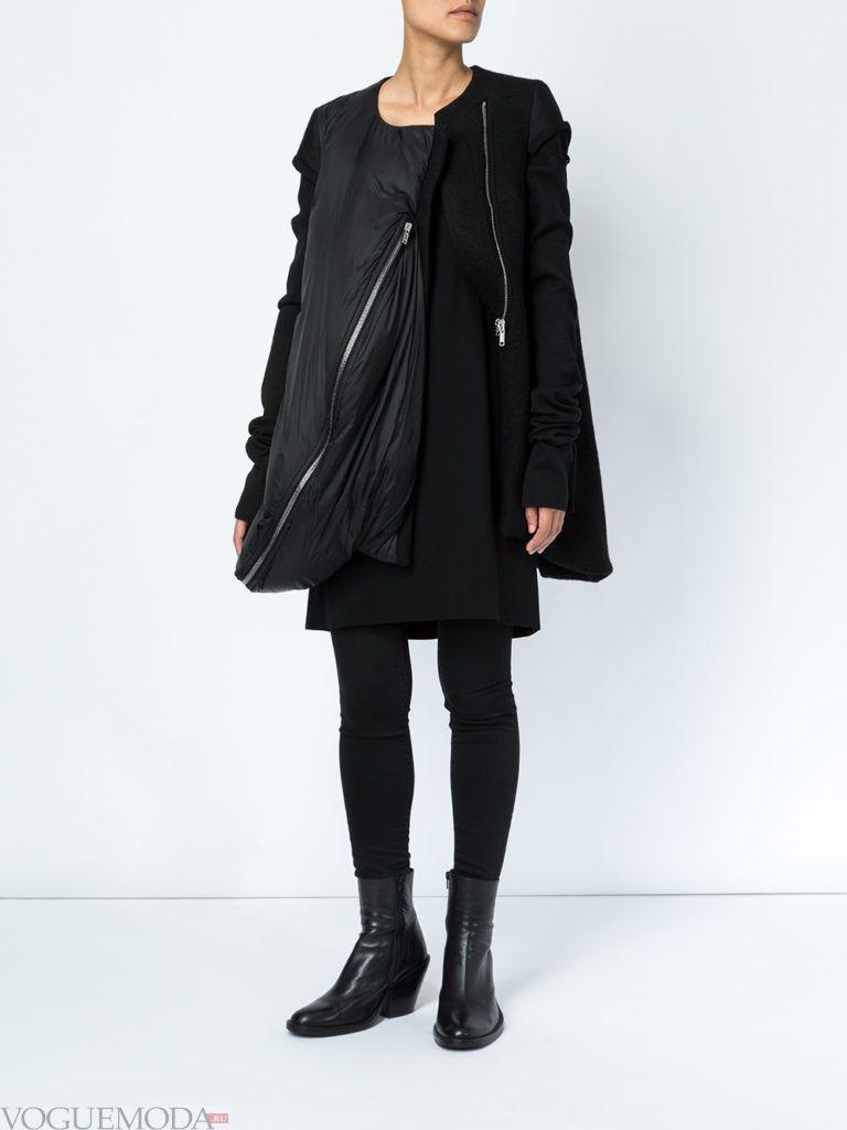 многослойная темная куртка на синтепоне