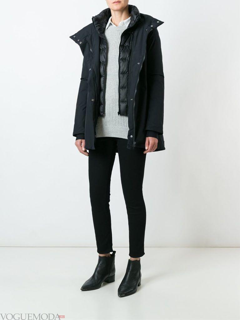 многослойная черная куртка на синтепоне
