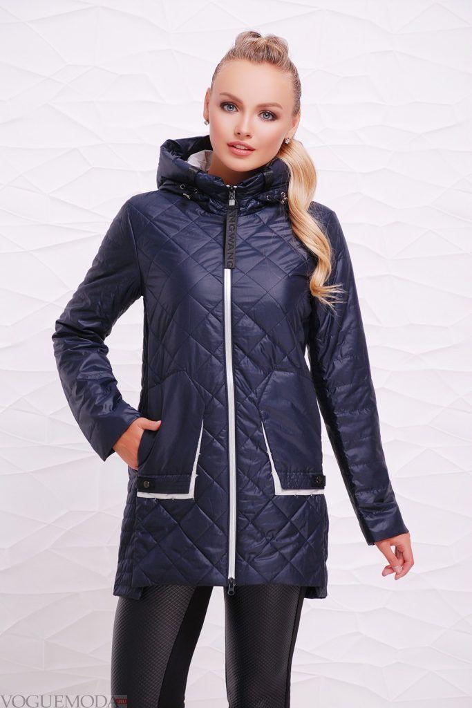 синяя куртка на синтепоне с фигурной стежкой