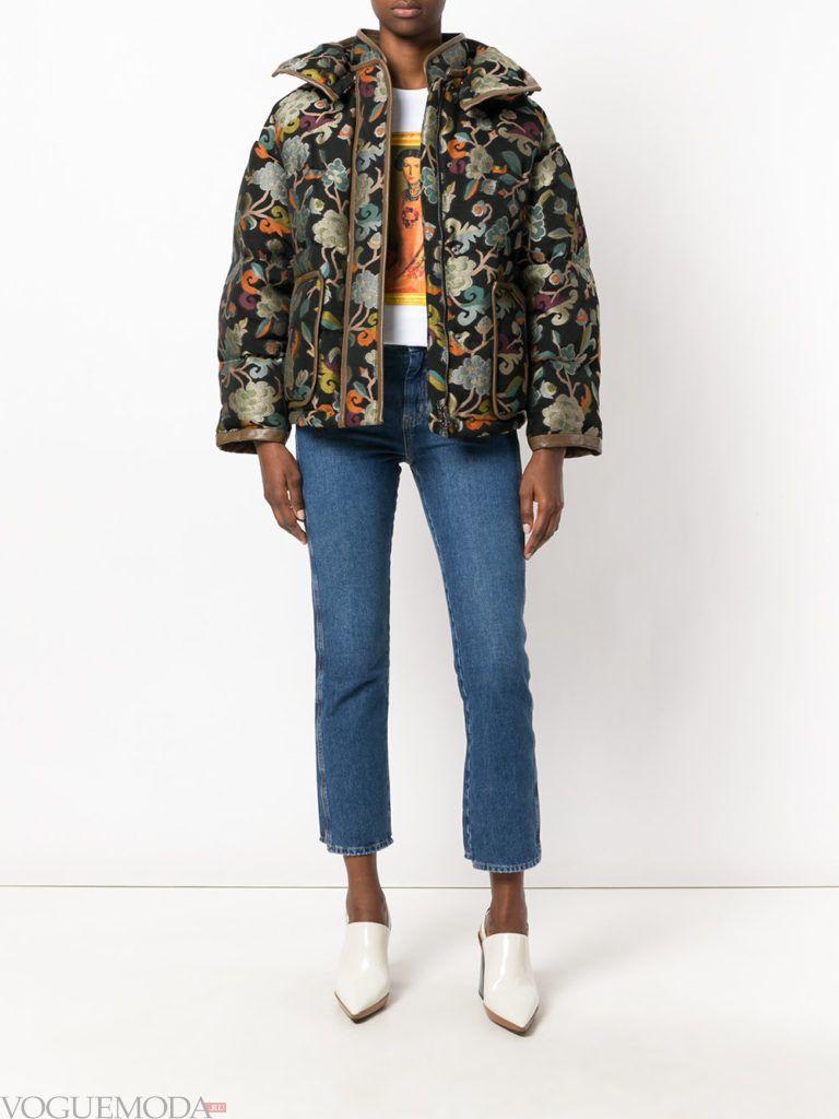 куртка на синтепоне с принтом
