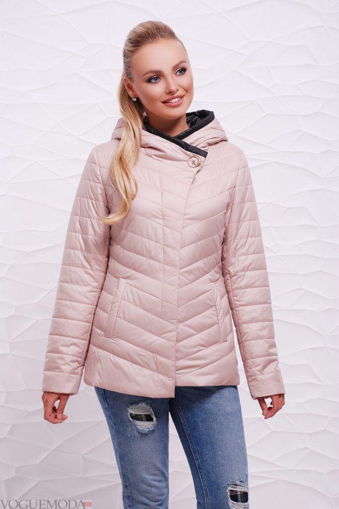 розовая куртка на синтепоне с фигурной стежкой