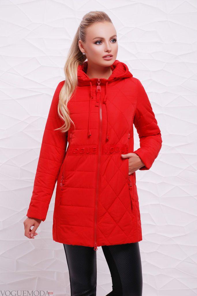 красная куртка на синтепоне с фигурной стежкой