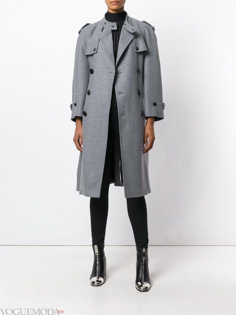 пальто-тренчкот серое