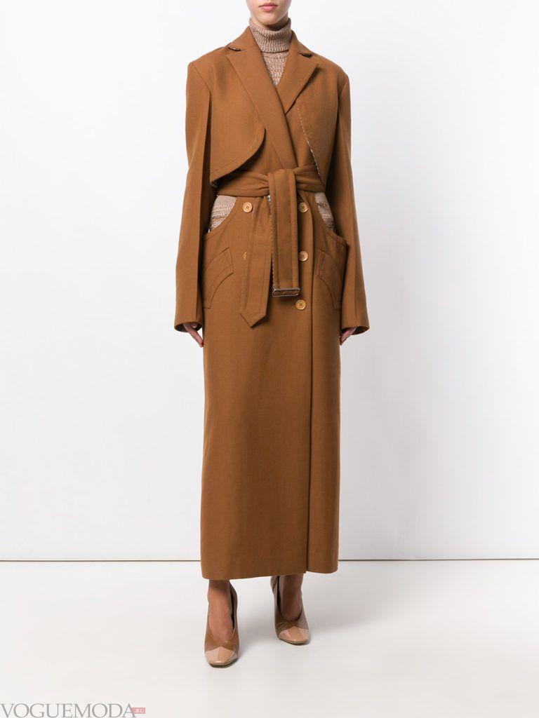 пальто-тренчкот коричневое