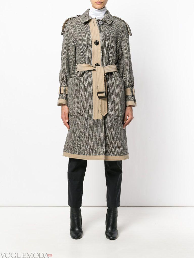 пальто-тренчкот цветное