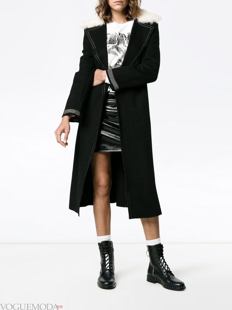 пальто-тренчкот черное