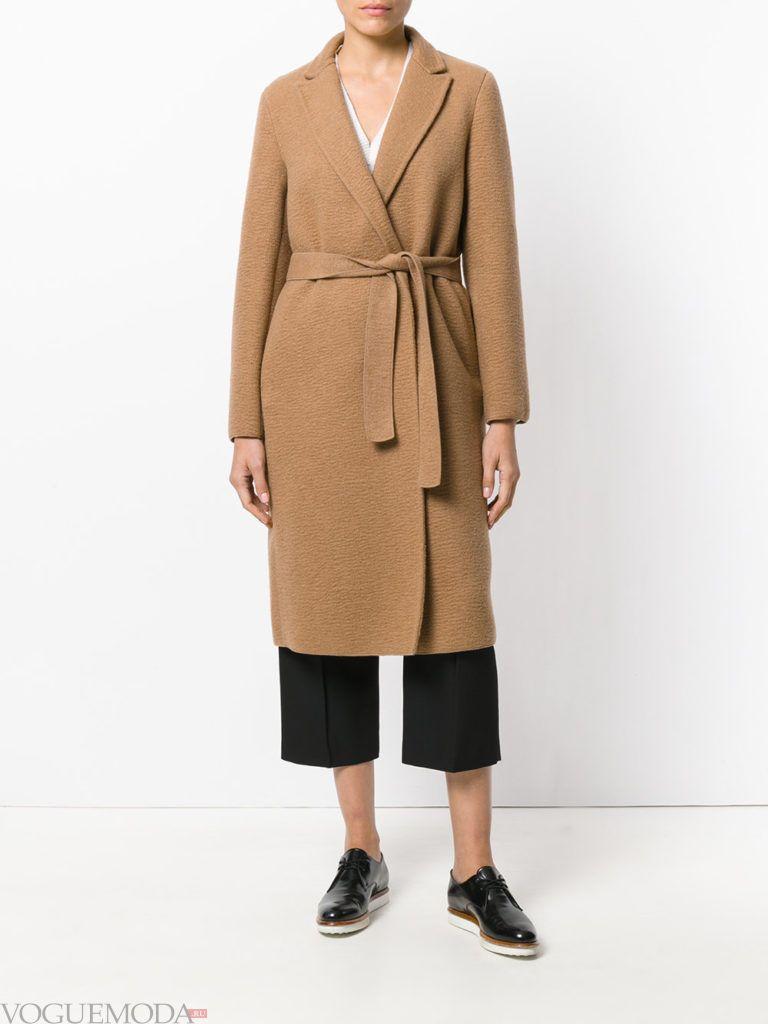 классическое пальто коричневое