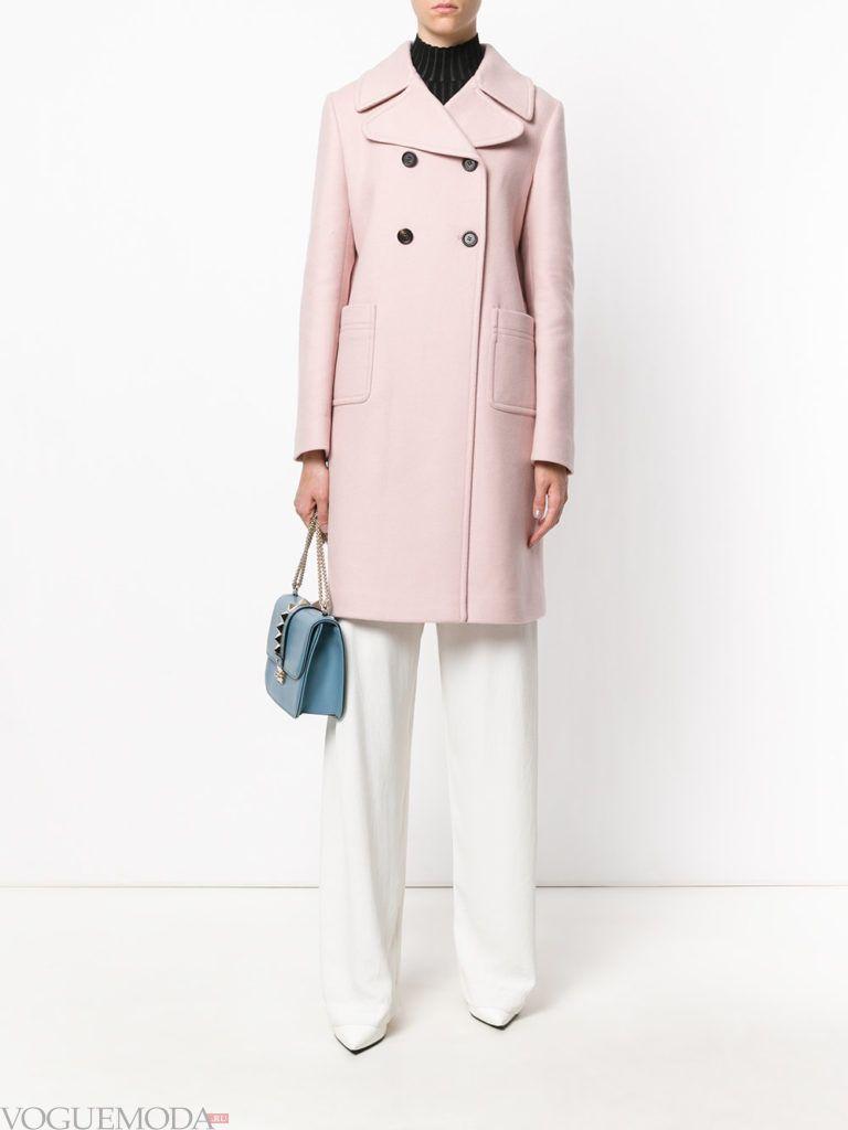 классическое пальто розовое