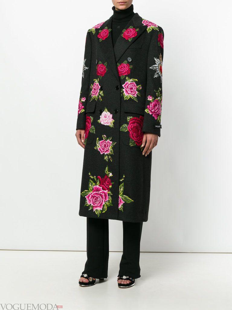 классическое пальто с принтом