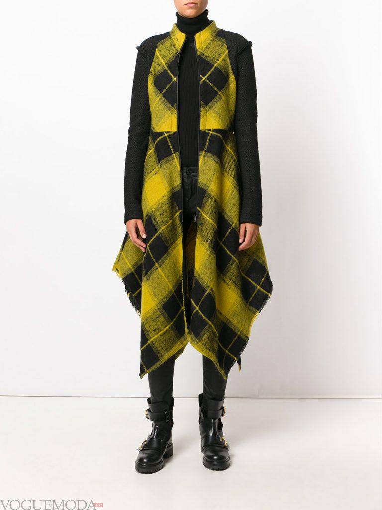 пальто в клетку асимметричное