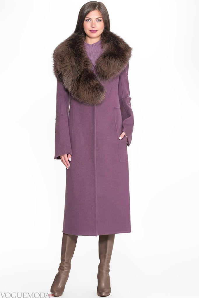 пальто макси с мехом