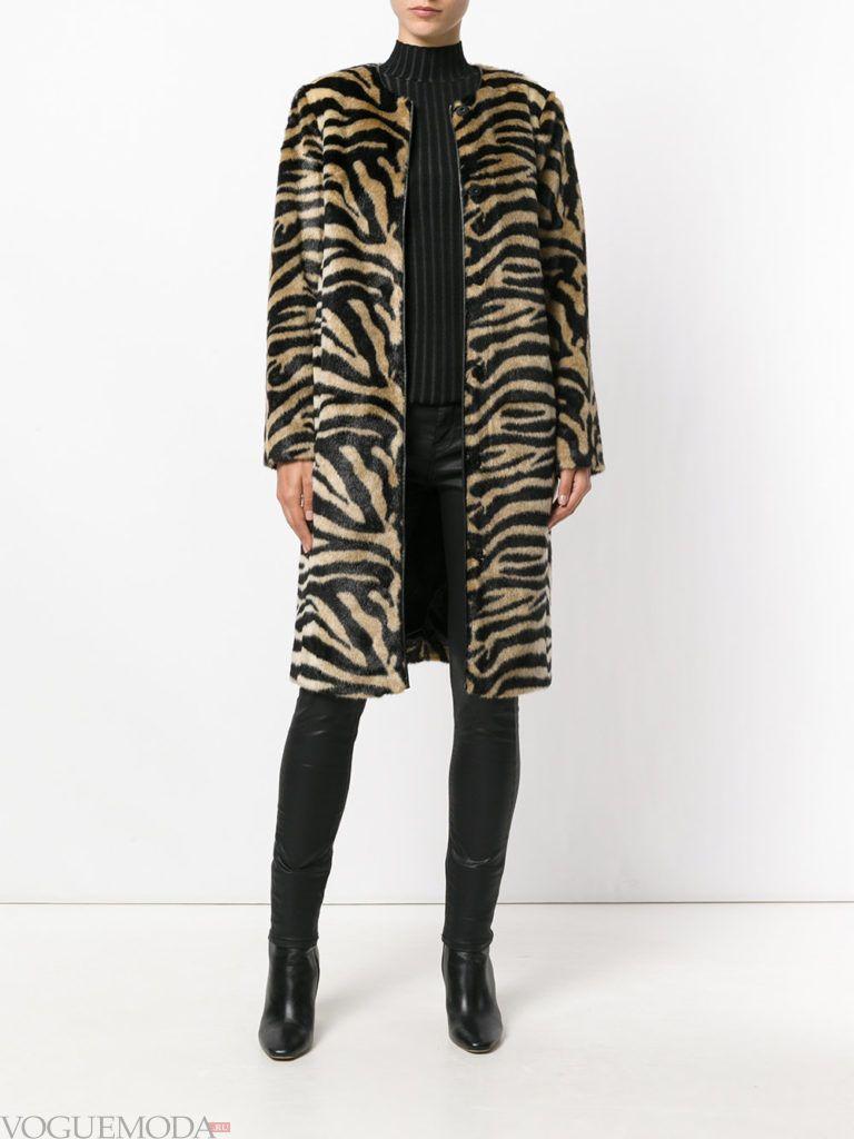 пальто макси с принтом