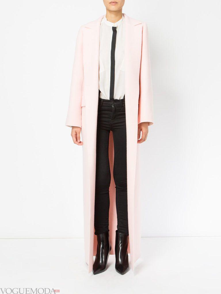 пальто макси розовое