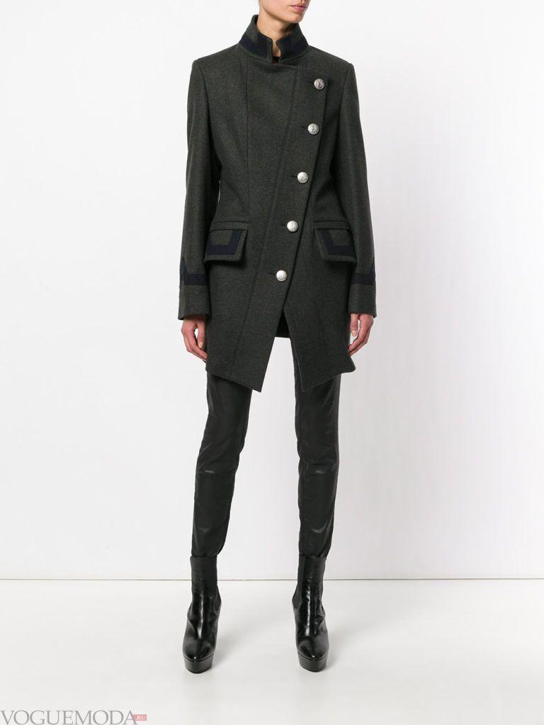 пальто в военном стиле черное
