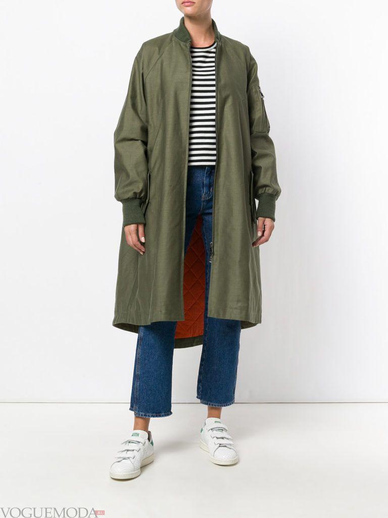 пальто в военном стиле зеленое