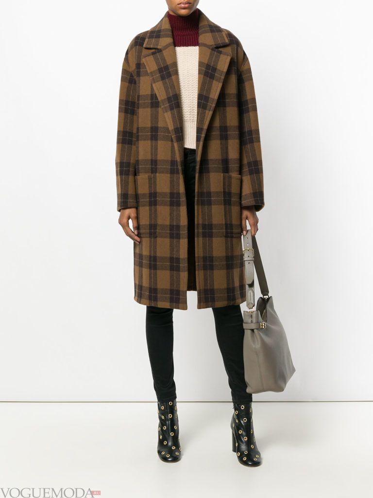 пальто в клетку коричневое