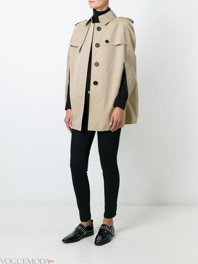 пальто в виде накидки светлое