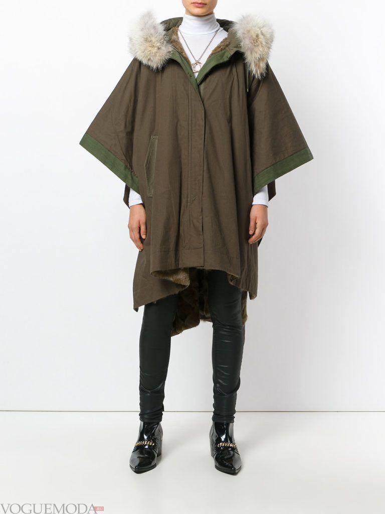пальто в виде накидки цветное