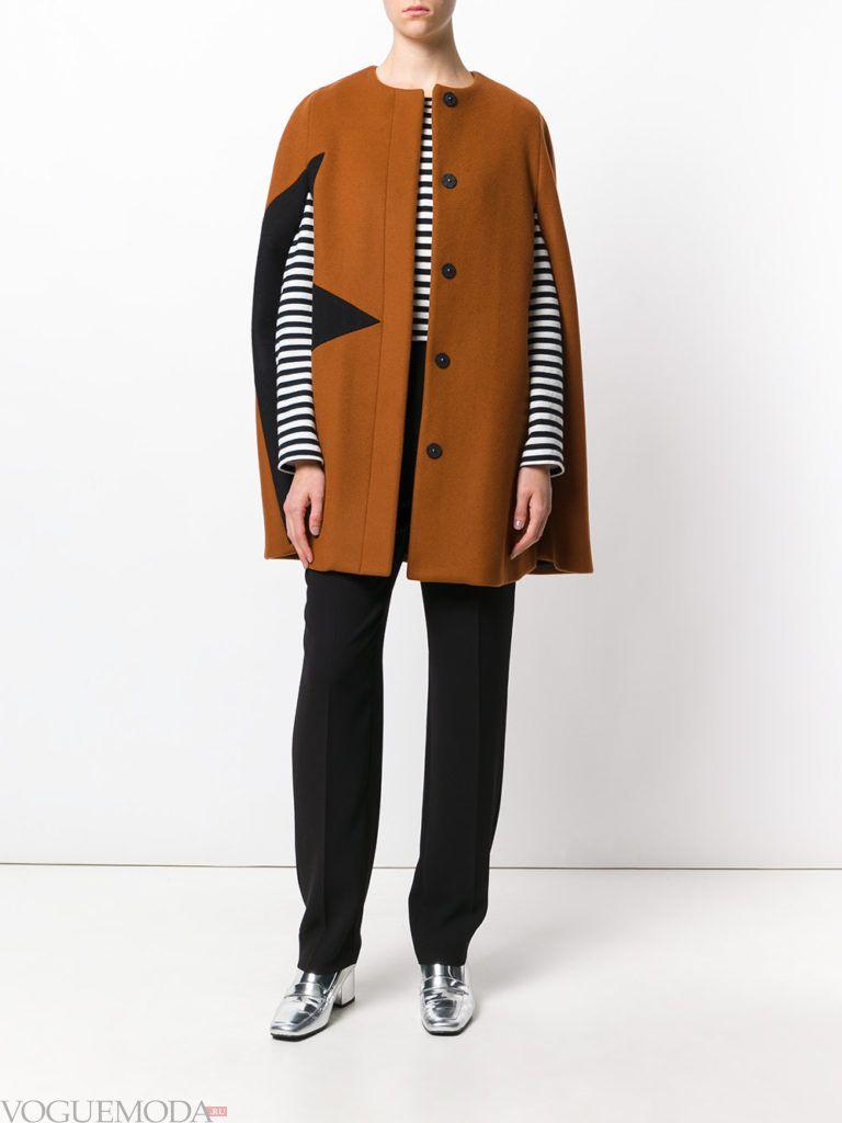 пальто в виде накидки коричневое