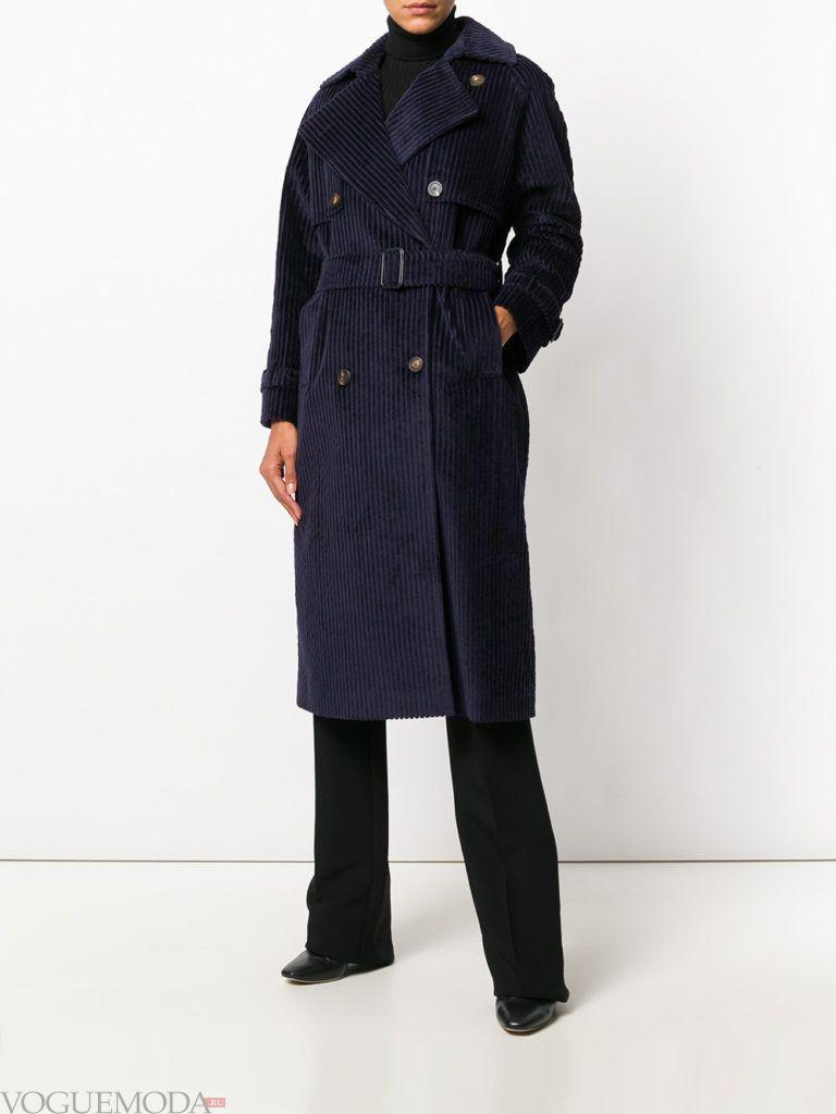 пальто в стиле милитари синее