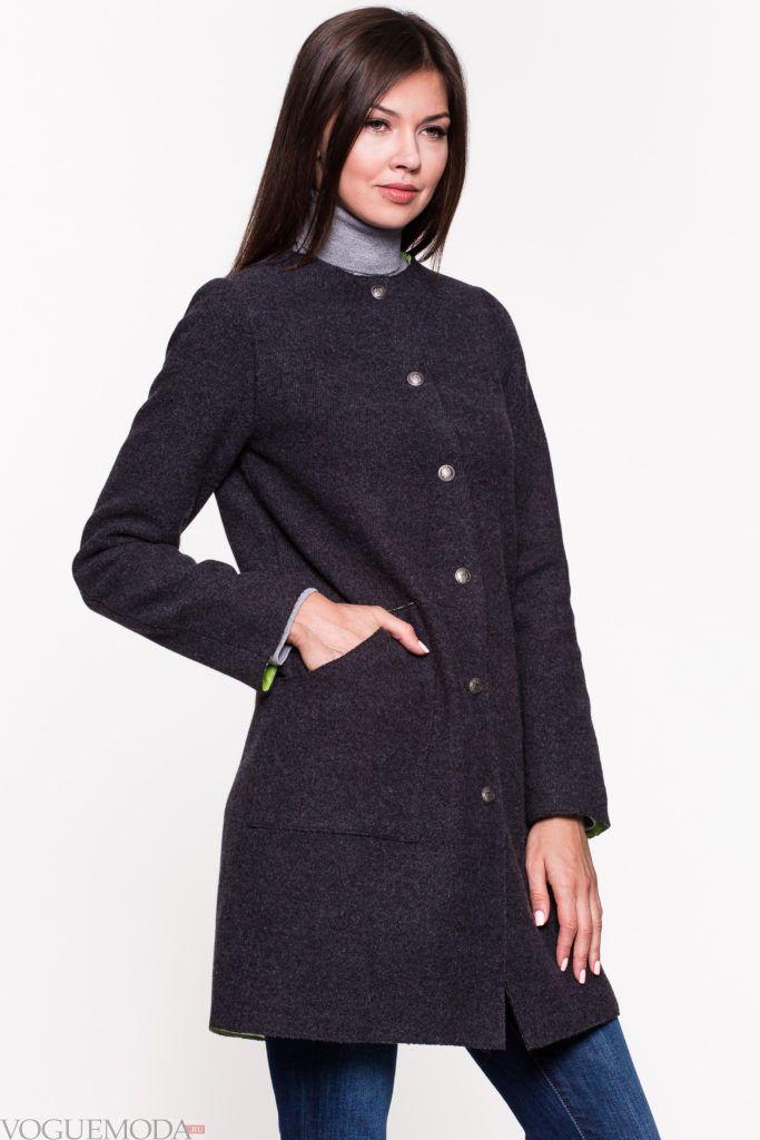 пальто в стиле милитари черное