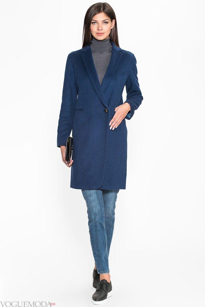 пальто boyfriend-style синее