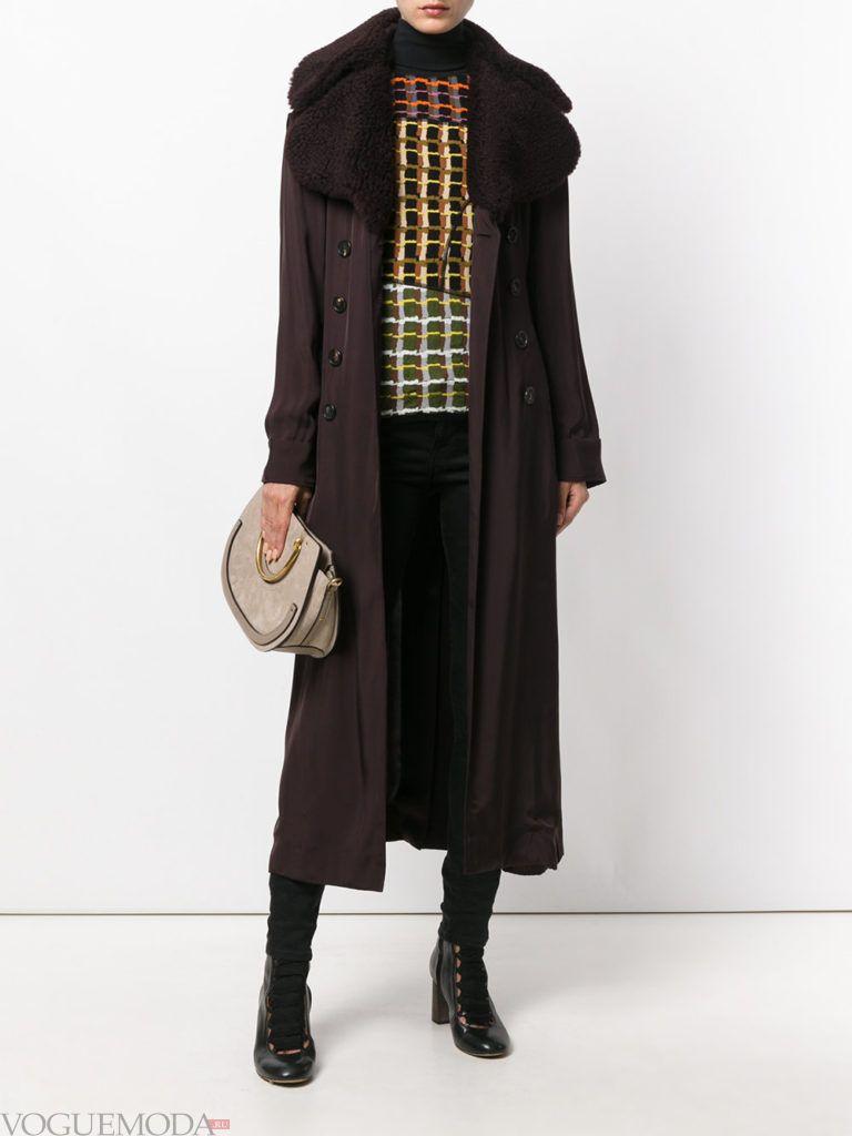пальто унисекс черное