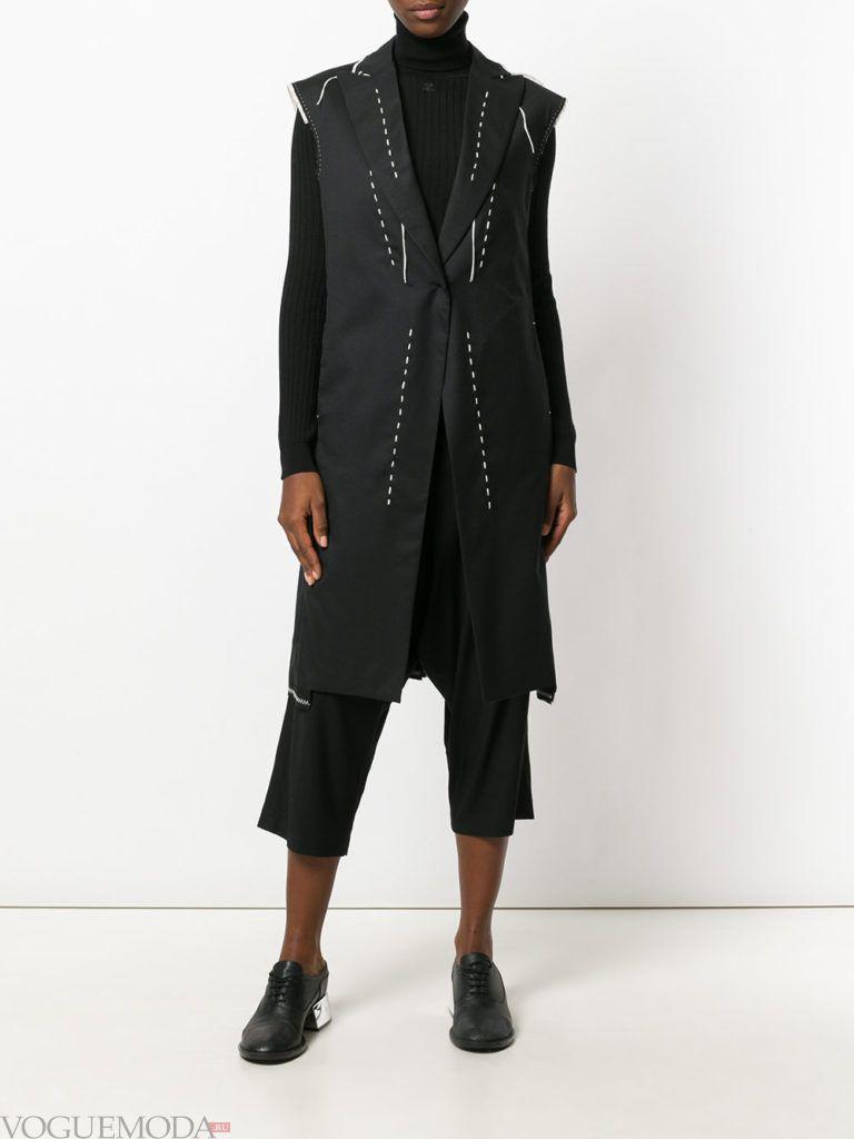 пальто без рукавов черное