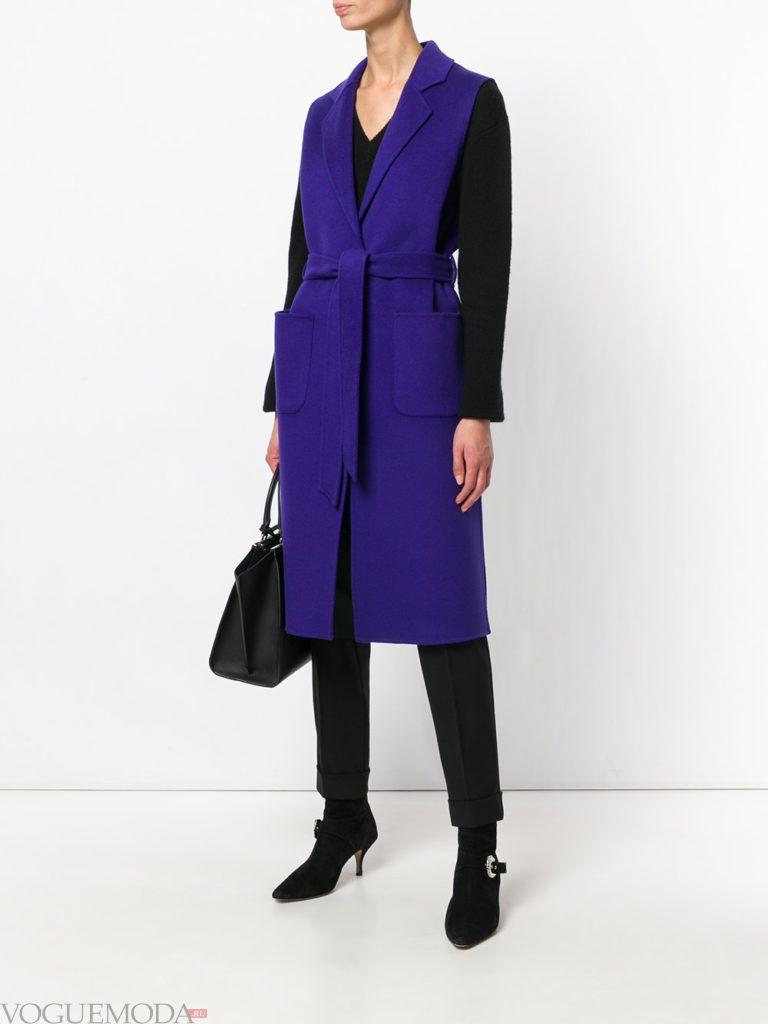 пальто без рукавов синее