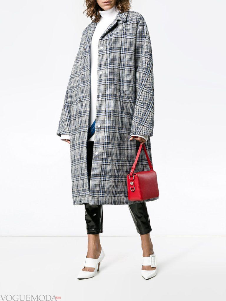 пальто в мужском стиле серое