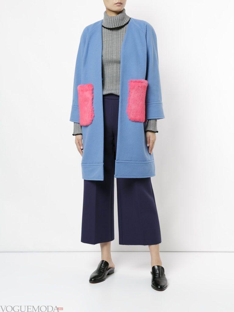яркое синее пальто