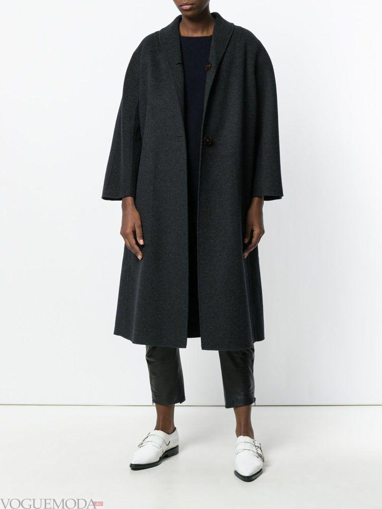 пальто в мужском стиле черное